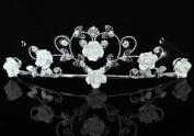 Bridal Wedding Handmade White Rose Ceramic Heart Tiara