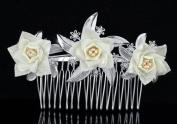 Bridal Wedding Ivory Flower Fabric Handmade Flower Girl Hair Comb