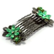 DoubleAccent Hair Jewellery Pair of small combs with frosted crystal flower pattern Green Colour