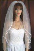 2T Ivory Fingertip Satin Hem Edge Scattered Rhinestone Wedding Gown Bridal Veil