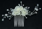 Bridal Wedding Ivory Fabric Crystals Handmade Hair Comb