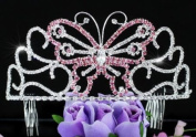 Bridal Wedding Pageant Butterfly Pink Crystal Tall Tiara