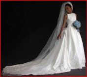 (Ship From USA) 1 Tier Cathedral. Crystal Rhinestones Bridal Wedding Veil Satin Edge