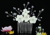 Bridal Wedding Ivory Fabric Flower Freash Water Pearl Crystal Hair Comb