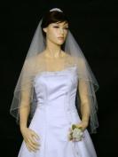 2T 2 Tier 8 x Beaded Motifs Pencil Edge Bridal Wedding Veil - White Colour Fingertip Length 90cm V48