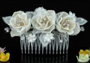 Bridal Wedding Ivory Fabric 3D Rose Crystal Hair Comb