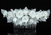 Bridal Wedding Ivory Fabric Rose Crystal Handmade Hair Comb