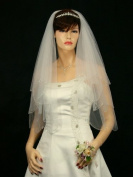 2T 2 Tier Scallop Beaded Edge Dangle Teardrop Crystal Bridal Wedding Veil