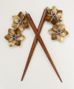Six Inch Wooden Hair Sticks with Bronze Flowers - Handmade Original By Lanzacreations