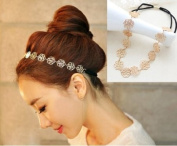 1pc Elastic Hollow Rose Women Flower Metallic Hair Band Headband WHS33
