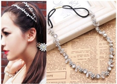1pc Women Silver Rhinestone Flower Hair Band Elastic Headband WHS32