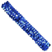 3 Row 3.2cm Metallic Stretch Sequin Headband - Royal Blue