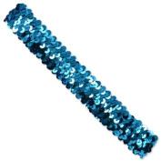 3 Row 3.2cm Metallic Stretch Sequin Headband - Turquoise