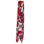 Pleated Fabric Print Hat Band - V Flower Red