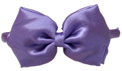 A Girl Company Satin Purple Headband with attached Layered Hair Bow