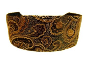 Luxurious Bohemian Rich Silk Gold and Copper Damask and Paisleys Brocade Over Black. Gorgeous Headband