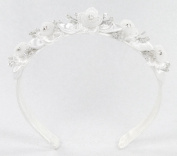 "Child headband of ""tulle on lace"" flower with rhinestone accent in centre & with satin petals #818G0"