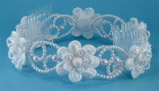 Beautiful pearly bun ring of wired pearl loops and satin flower accented with pearls and bugle beads #81D7wh