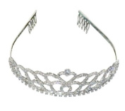 (Ship From USA) Double Heart Bridal Wedding Tiara Crystals Rhinestones Crown Promo Party T1070