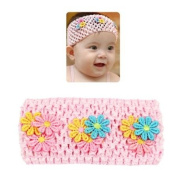 Babys Wide Mesh Stretch Headband with Flowers
