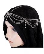 Fashion Jewellery ~Hair Accessory ~ Silvertone Rhinestone Tassel Head Chain Hairband
