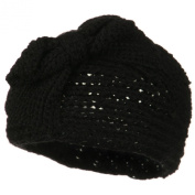 Button Closure Wide Knit Head Band - Black