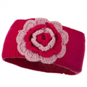 Big Flower Knit Head Band - Fuchsia