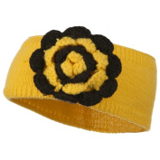 Big Flower Knit Head Band - Yellow