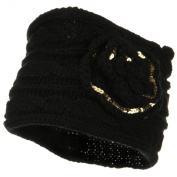 Sequin Flower Knit Head Band - Black