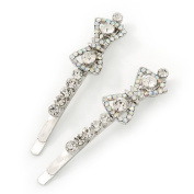 Pair Of Clear/ AB. Crystal 'Bow' Hair Slides In Rhodium Plating - 60mm Length
