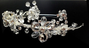 iPhashon Silver Wedding Pageant Crystal Tiara Floral Flower Headband Headpiece H810