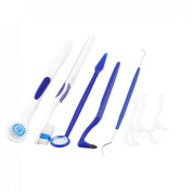 15cm 1 Dental Care Tool Teeth Tongue Brush Stain Tooth Picks Kit Blue White