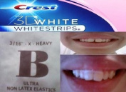 CREST 3D WHITESTRIPS (1 COUNT PACK WITH 2 STRIPS) PLUS ORTHODONTIC GAP TEETH BANDS TO CLOSE GAPS