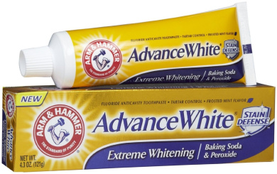 Arm & Hammer Advance White Toothpaste, Fluoride, Anticavity, Extreme Whitening, Baking Soda & Peroxide, Frosted Mint Flavour, 130ml (Pack of 4)