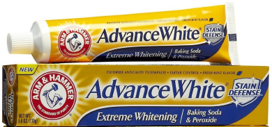 Arm & Hammer Advance White Toothpaste, Fluoride, Anticavity, Extreme Whitening, Baking Soda & Peroxide, Fresh Mint Flavour 180ml (Pack of 3)