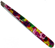 High Quality Stainless Steel Slant Tweezer, Crazy Floral Print - Used By Professionals