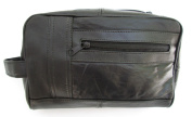 Mens Black Leather Shaving Kit Toiletry Bag Soft Lambskin #999D