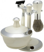 Shaving Gift Set with Badger Brush, Stand, Soap Bowl, Bowl Cover and Mirror and Mach 3 Razor Handle. White Pearl Finish, Great Fathers Day or Christmas Gift.