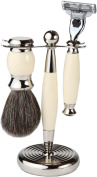 3 Piece Premium Shaving Set With Mach 3 Handle, 100% Badger Brush, With All metal Chrome Classy Stand