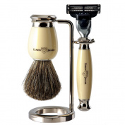 Edwin Jagger Simulated Ivory and Nickel Shaving Set with Gillette Mach 3 Razor/ Pure Badger Shaving Brush and Stand
