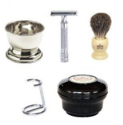 SimplyBeautiful Shaving Gift Set Deluxe with Merkur Razor, Omega 100% Pure Badger Brush, Omega Chrome Stand, Omega Shaving Soap, and Chrome Shaving Bowl
