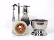 5-Piece Chrome Shaving Set- Merkur #178 Safety Razor, Brush, Razor/Brush Stand, Soap Bowl & Shave Soap