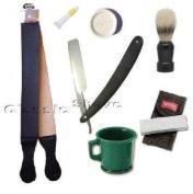 Tan Strop Straight Razor 7 Pcs Shaving Set