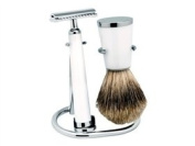 3pc White Resin Traditional Shaving Set with Best Badger Brush by Erbe, Germany