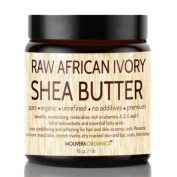 Shea Butter - Molivera Organics 470ml Raw Unrefined African Organic Ivory Shea butter for Natural Skin Care, Hair Care and Body Butters - Fair Trade Karite SheaButter from Ghana - UV Resistant Jar.