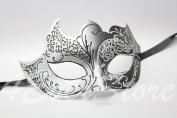 Mystic Black Swan & Silver Italian Venetian Masquerade Mardi Gras Mask with Glitter Design