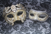 Venetian Silver Couple Vintage Masquerade Carnival Costume Mask