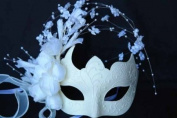 Laser Cut Venetian Wedding Flower Covered Crown Design Masquerade Mask - w/ Side White Flowers