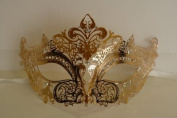 Venetian Golden Majestic Swan Crown Design Laser Cut Masquerade Mask Vibrantly Decorated and Intricately Detailed
