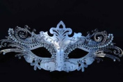 Vintage Venetian Swan Princess Inspired Design Laser Cut Masquerade Mask - Finely Decorated and Intricately Detailed - White and Silver